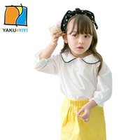 Wholesale Girl s Solid Reffle Sleeve Blouse White Pink Three Quarter Zipper Fly Shirts Cute Preppy Style Casual Tops Kids Wear YAKUYIYI