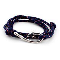 Wholesale New Women Man hop Bracelet Fashion color Individuality Silver plated Hope Fish Hook Multilayer Rope Bracelets Bangles