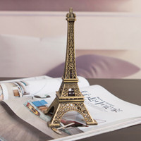 Wholesale 1Pc Creative Gifts cm Metal Art Crafts Paris Eiffel Tower Model Figurine Zinc Alloy Statue Travel Souvenirs Home Decor