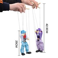 Wholesale Pair Pirate Puppet Baby Marionette Puppet Shadow Play Clown Kids Child Baby Wooden Funny Traditions Classic Toy Send Random