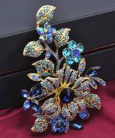 Broche enorme de la flor de 123x80m m Corsage agraciado vendedor caliente del traje de la señora de la broche nupcial cristalina de lujo de moda de calidad superior