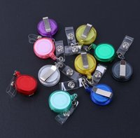Wholesale HOT SALE retail ID holder name tag card key Badge Reels Round Solid Plastic Clip On Retractable pul Stretching CM badges E595