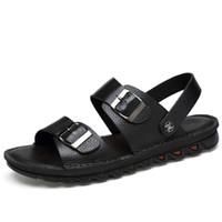 Hombres de verano sandalias de los hombres de cuero suave zapatos casuales Moda de zapatos planos de hombre al aire libre deslizadores de la mujer transpirable comodidad zapatilla CD0731