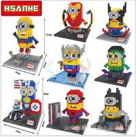 america toys - 2016 LOZ Minions Cosplay Batman V Superman Captain America Hulk Iron Man Thor Loki Action Figure Children Toy Building Blocks