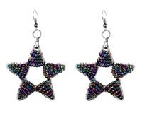 al por mayor cuelga los pendientes del arco iris-Boho Estilo Vintage Arco Iris Beads Beaded Star Charm Dangle Pendientes