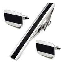 Acheter Bar business-Créatif design noir agate argent man manches boutons de manchettes et cravate bar clips mis pour affaires et accessoires de mariage