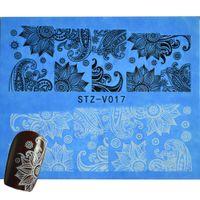 Цветущие инструменты RU-Wholesale-1Sheets лето 2016 Дизайн BlackWhite Nail Art Flower Обертывания переноса воды Таблички DIY ногтей наклейки польский Инструменты STZV017