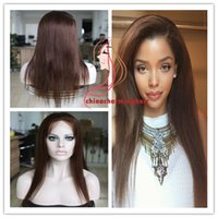 Wholesale Grade A Glueless Lace Front Full Lace Wigs Natural Straight in Stock Unprocessed Brazilian Virgin Human Hair Wigs brown hair color