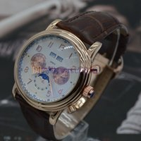 automatic wat - brand new Men s high quality stainless steel mechanical movement style sun and the moon stars automatic fashion luxury leather strap wat
