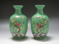 Wholesale China Famille Rose Porcelain Two vases painted Flower Bird verse Have mark T0136