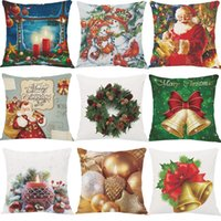 Wholesale Colorful Merry Christmas Pillow Case Sofa Waist Throw Cushion Cover Home Decor Happy Festival Fashion Home Garden Decoration