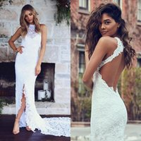 Wholesale 2017 Spring Summer Beach Elegant Full Lace Mermaid Wedding Dresses Halter Sleeveless Sexy Backless Side Slit Bridal Gowns Long Sweep Train