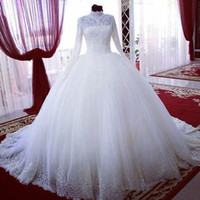Wholesale Long Sleeves High Neck Muslim Wedding Dresses Ball Gown Lace Tulle Sweep Train Luxury Bridal Gowns Custom Size