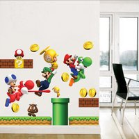 Wholesale 32 cm Cartoon Super Mario Wall Stickers DIY Art Decal Removeable Wallpaper Mural Sticker for Kids Room TC1111