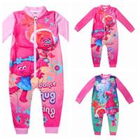 baby zipper pajamas - 3y y kids pyjamas Trolls Jumpsuits Girls Clothing Long Sleeves Baby Rompers Zipper Girls Pajamas Kids Children s Sleepwear Nightgown
