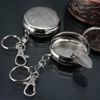 Wholesale Outdoors Round Cigarette Keychain Portable Ashtrays Stainless Steel Pocket Ashtray
