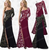 al por mayor top peplum de encaje rojo-Sexy vestido de fiesta primavera Maxi vestido 2017 rojo negro un hombro floral de encaje Peplum Top largo vestido formal
