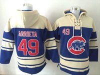 Wholesale Jake Arrieta Blue Hoodie New Arrival Chicago Cubs Baseball Sweaters Top Quality Men s Hoodies Pullover Baseball Wear White In Stock