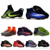 Wholesale Mens mercurial superfly fg soccer shoes cr7 soccer cleats superflys football boots blackout cristiano ronaldo Original ea sports blue
