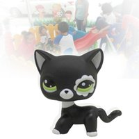 Wholesale New Healthy Material Littlest Pet Shop LPS Lovely Rare Black Cat Blue Eye Kitten