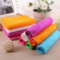 bamboo kitchen cloth - 18 CM Color bamboo fiber wash towel Handcrafted Non stick Oil Lint free Cleaning Cloth In The Kitchen Super Absorbent JF