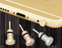 al por mayor enchufe a prueba de polvo teléfono inteligente-Alta calidad a prueba de polvo Plug para iPhone Teléfono inteligente Anti polvo plug 3,5 mm auriculares Jack Sim tarjeta de la herramienta de la aguja de la bandeja del teléfono móvil