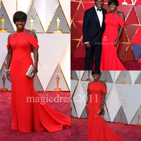 al por mayor 16 viola-Modest Red Celebrity Evening Prom Dresses Viola Davis Oscars 2017 árabe de Nigeria Mermaid rojo satinado rizado plisado largo formal vestido de fiesta