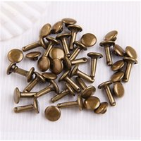 antique rivet clothing - New Arrival Antique Bronze Brass Round Metal Double Cap Rivets Jewelry Shoes Bags Clothes Accessories