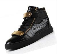 achat en gros de manchette zipper-Vente en gros-Drop Livraison 2015 Hommes Femmes Hommes GZ neutre or haut-top chaussures mocassin manchettes poignets