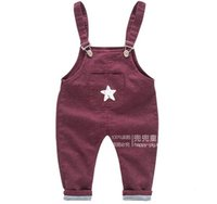 Wholesale new year old baby child solid color pattern elastic wear pants overalls NM