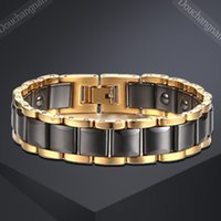 Wholesale 2016 europe and the Uni ted States new products in Europe and the United States mm stainless steel ceramic gold health bracelet men