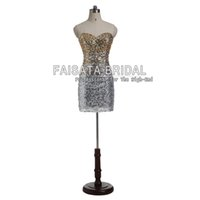 Wholesale Sexy Short Party Dresses Gold Sliver Sequins Bling Bling Prom Dresses Backless Tulle Short Mini Evening Dresses Formal Evening Dress
