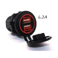 Wholesale Car Boat Marine Mobile Phone Charges Waterproof Dual USB Charger Socket Power Outlet A A for iPhones mobile phone iPads