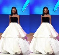 ball gowns usa - Newest Miss USA Pageant Evening Gowns Beauty Queen Ball Gown Strapless Black and White Puffy Satin Beaded Prom Dresses Long Party Gowns