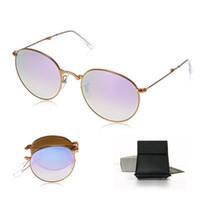 Las gafas de sol de la nueva llegada gradualmente gradualmente los hombres y las mujeres redondos de bronce plegables del capítulo de la lente del espejo plegable diseñan la caja de los vidrios de Sun de la manera del diseñador