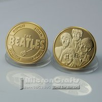 beatles gift box - Famous Music Rock Band The Beatles K Gold Plated Commemorative Coin Token
