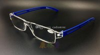 Wholesale New Unisex Clear Rimless Reading Glasses Spectacles Eyeglasses with Case Blue E00641 FASH