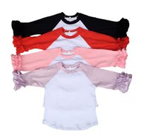 Wholesale Pink icing ruffle raglans shrit toddler sleeves shirts blank baby girls solid colors raglan ruffle sleeve shirts