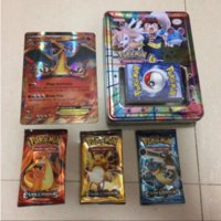 Wholesale 2017 New Style Poke Go Cards With Big Metal Box Large Mega English Word Cards Pikachu Trading Card Kids Toys Set