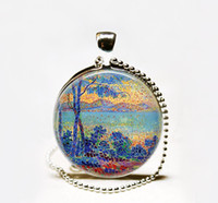 american impressionism art - Sunrise in Provence art pendant Necklace French Neo Impressionism pendant French art Glass Photo Necklace for painter s gift