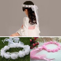 Wholesale Girl Veils Beautiful Pearls Lace Flowers Garland Children Hair Accessories For Birthday Party Cute Headband With Ribbons ZA3040