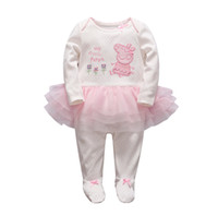 Wholesale 2016 Autumn Long Sleeve Baby Girl Clothes Newborn Baby Cotton Polka dot Skirt Romper Infant Girl Princess Romper with Pink Pig