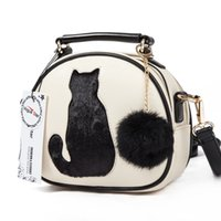 Wholesale 2016 Cat Printing Bag Ladies Crossbody Bags Circle Women Leather Handbags with Fur Ball Women Messenger Bag