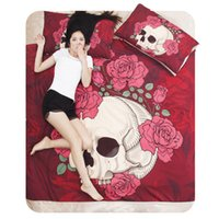 Cheap Wholesale-Free shipping 4pcs cotton Pink skull bedding set bed cover set comforter set king queen twin size for female
