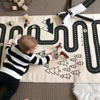 Knitted baby room flooring - 2016 Canvas Car Track Children Crawling Mat Bedroom Living Room Carpet Continental Game Pad Kids Room Road Trip Floor Rug Mat