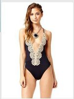 Wholesale Selling lace one piece black and white halter neck deep V conjoined bikinis