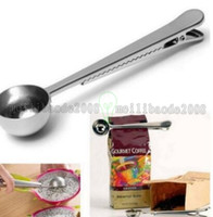 Wholesale New Arrive Stainless Steel Ground Coffee Measuring Scoop Spoon With Bag Seal Clip Silver MYY