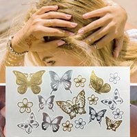 analog sticker - Butterfly Temporary Tattoo Freshwater Flash Analog Sized Disposable TATTOO Stickers GOLD Metallic Silver Butterfly Tatto Art