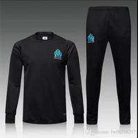 Wholesale Thai Quality Real European Cup Marseille Black Long Sleeve Training Wear