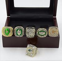 al por mayor anillo de empacadores-Caja de madera libre 6pcs del anillo de la galjanoplastia del rodio de la manera de Solild del envío 1961 1965 1966 1967 1996 Anillo 2010 del campeonato del embalador del Green Bay